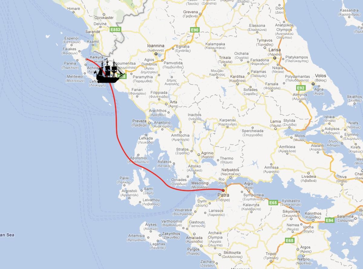 Corfu Town to Patra to Zakynthos Town
